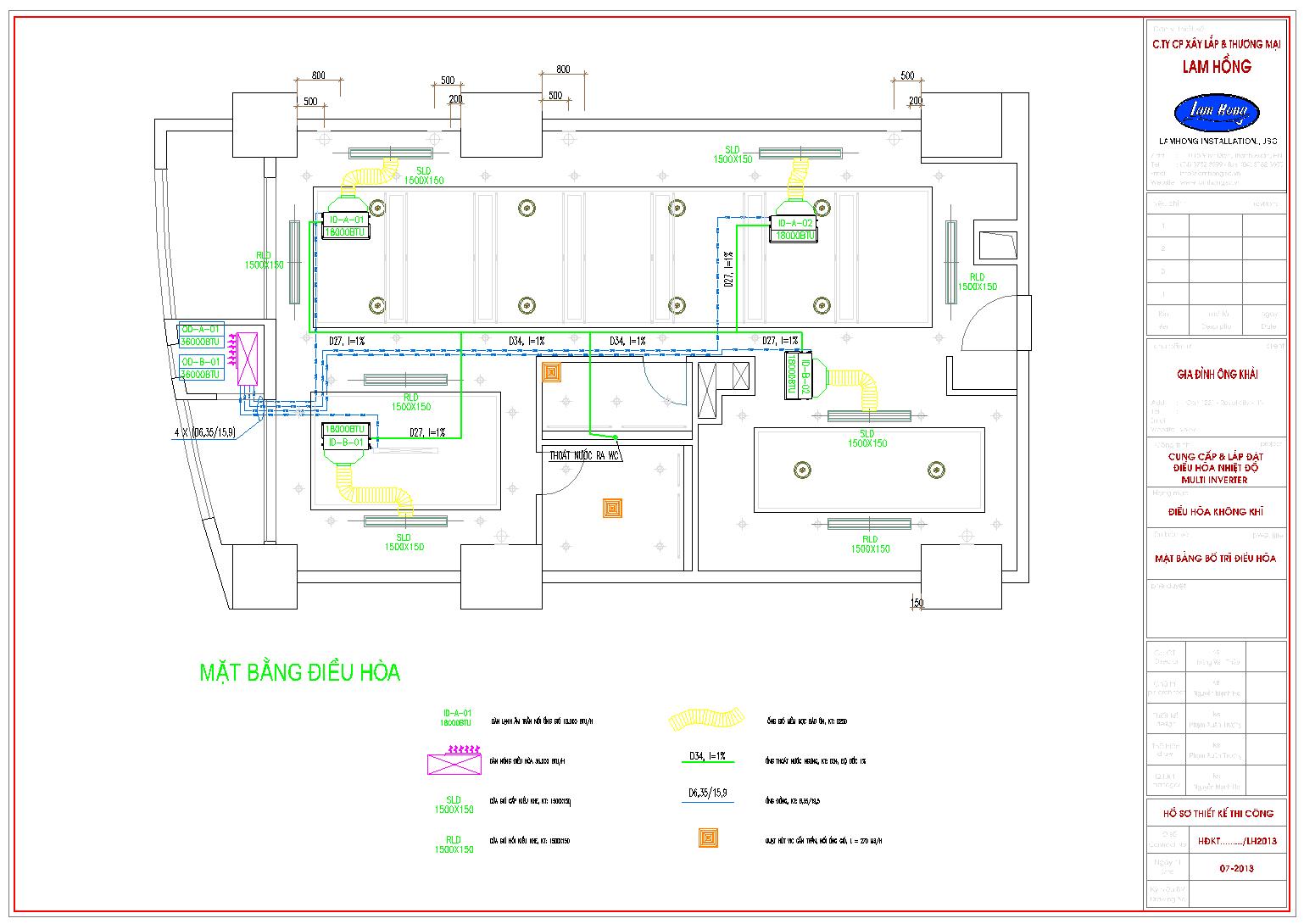 Bản vẽ thiết kế điều hòa multi inverter cho căn hộ cao cấp Royal city